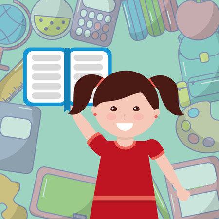 school little girl student with book supplies background vector illustration