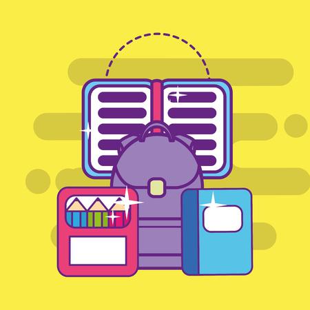 school backpack book notebook and color pencils vector illustration Illustration