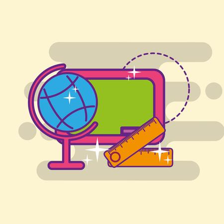 school globe map ruler and chalkboard vector illustration