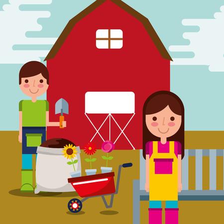 boy and girl gardeners farm work barn and wheelbarrow vector illustration