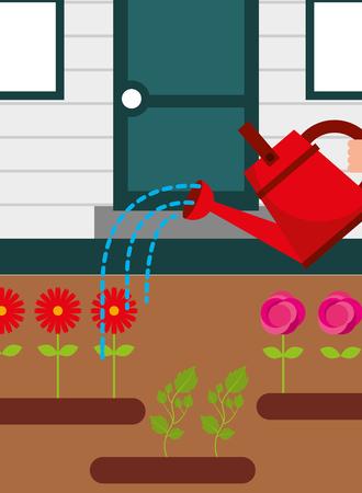 gardening watering flowers garden house vector illustration