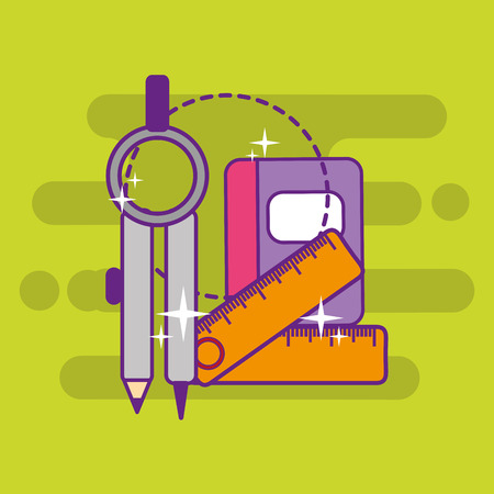 school geometry compass ruler and book vector illustration