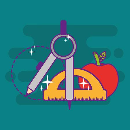 school geometry compass protractor apple objects vector illustration 일러스트