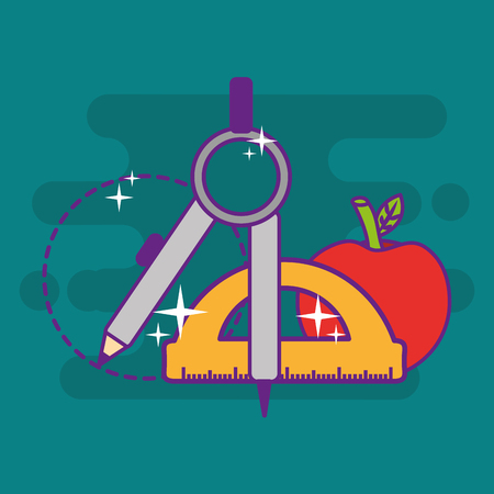 school geometry compass protractor apple objects vector illustration 向量圖像
