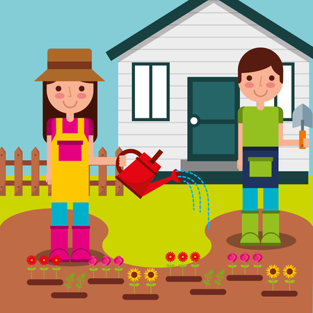 boy and girl gardeners watering flowers and planting in garden vector illustration