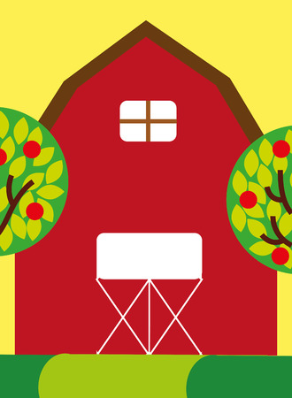 red farm barn wooden building and trees fruits vector illustration