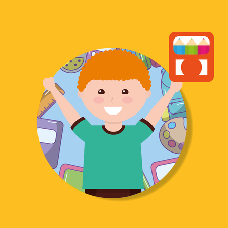 school little boy holding color pencil box vector illustration