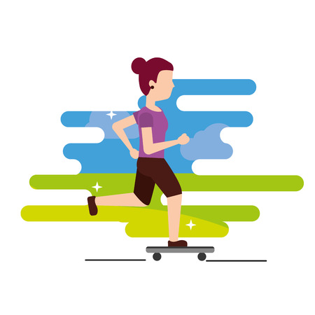 young woman riding a skateboard cheerful sport vector illustration Ilustracja