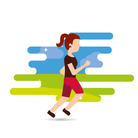 woman sport jogging active athletic vector illustration