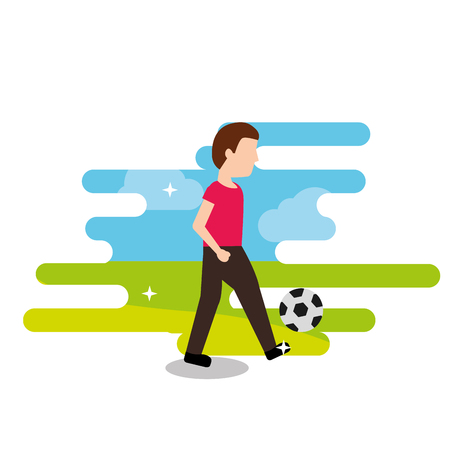 young man playing with football ball sport vector illustration