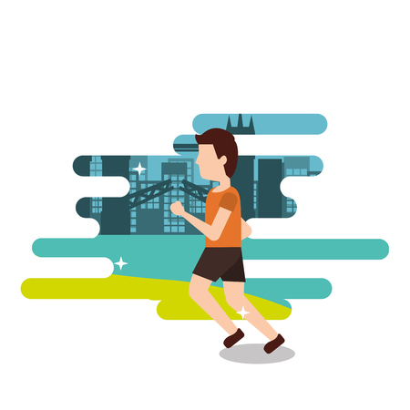 sport man runner training athletic activity vector illustration