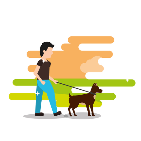 young man walking with her dog vector illustration
