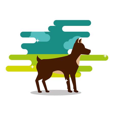 茶色の犬のペットの動物の家畜の立ち上がりベクトルイラスト  イラスト・ベクター素材