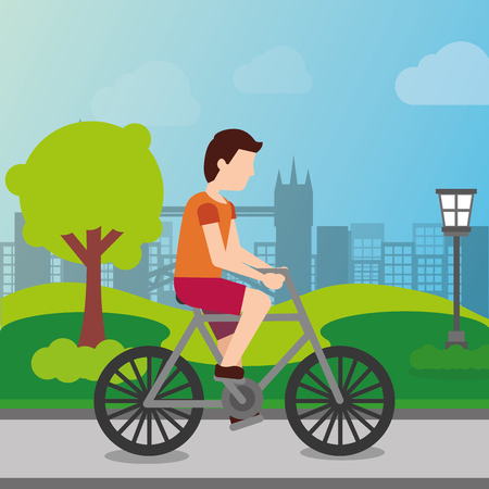 bicyclist man on a bicycle sport recreation in the park vector illustration