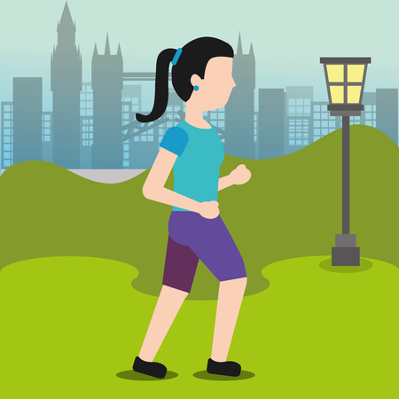 young woman walking sport activity in the park vector illustration