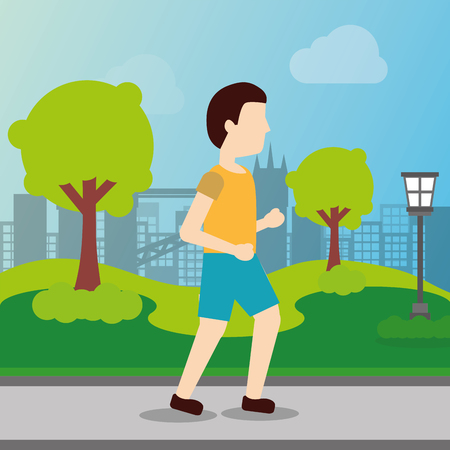 sport man walking training activity in the park vector illustration