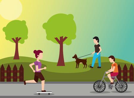 사람들이 스포츠 활동 여자 타고 스케이트 남자 공원 벡터 일러스트 레이 션에 강아지와 남자 승마 자전거를 걸어 스톡 콘텐츠 - 99729767