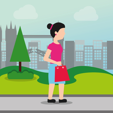 woman holding shopping bag market in the park city vector illustration Ilustração