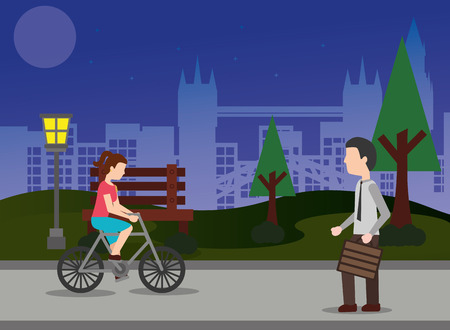young woman riding bike and businessman walk at night in the park vector illustration Illustration