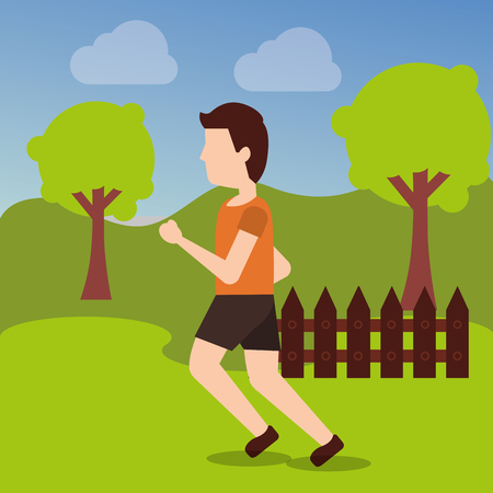 sport man runner training athletic activity in the park vector illustration