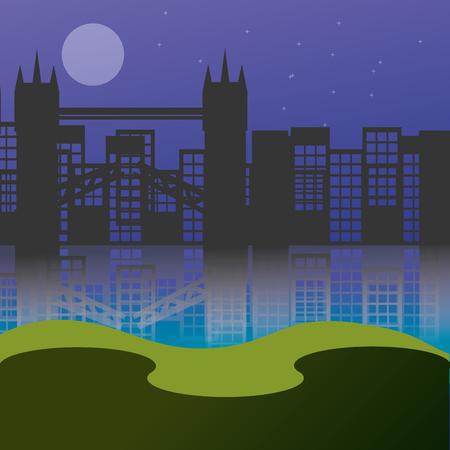 都市景観超高層ビルブリッジ夕日背景ベクトル図