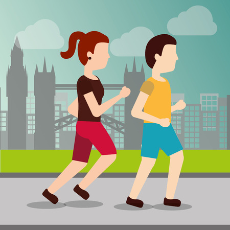 sport man and woman runner training athletic activity cityscape vector illustration