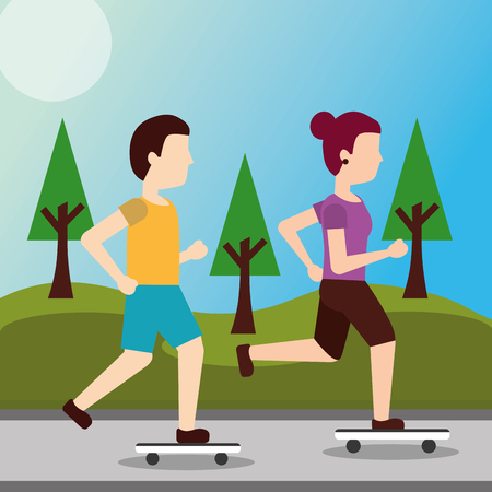 young woman and man riding a skateboard in the park vector illustration