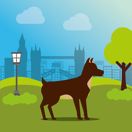 brown dog pet animal domestic standing in the park vector illustration 일러스트
