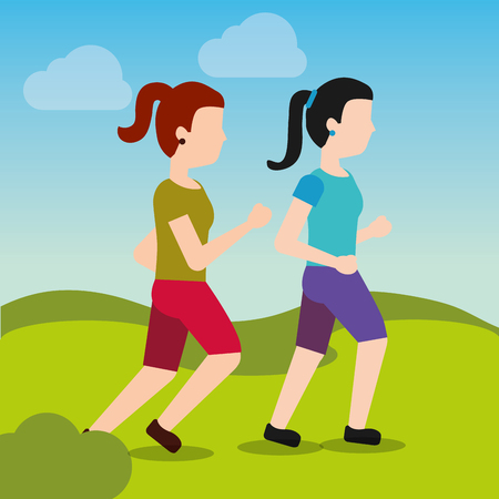 young women walking and running sport activity landscape vector illustration