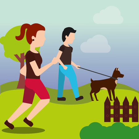 young man walking with her dog and sport woman runner in the park vector illustration