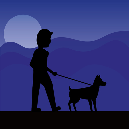 silhouette man walking with her dog at night background vector illustration Illustration