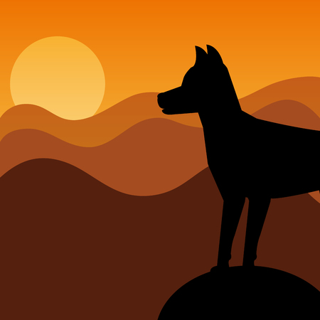 silhouette dog pet animal domestic standing on sunset background vector illustration