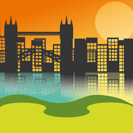 cityscape skyscrapers bridge sunset background vector illustration