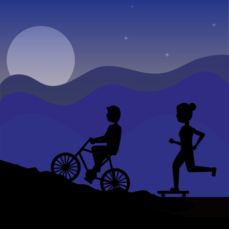 silhouette bicyclist man on a bicycle and runner woman at night vector illustration Illustration