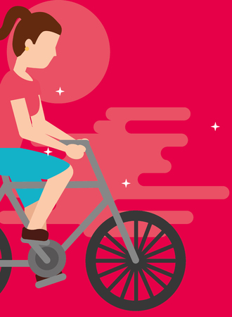 young woman riding bike sport activity vector illustration Ilustrace