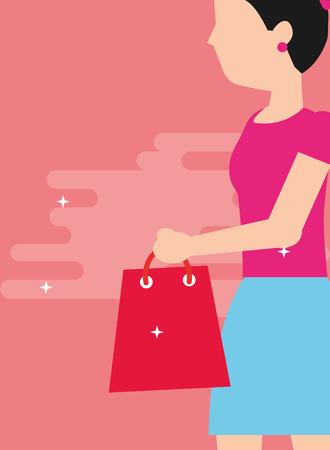 woman holding shopping bag walking vector illustration