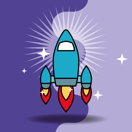 video game classic rocket launching vector illustration