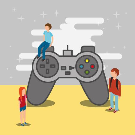 people teenager and video game big control vector illustration Ilustração