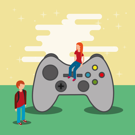 gamers and video game control vector illustration
