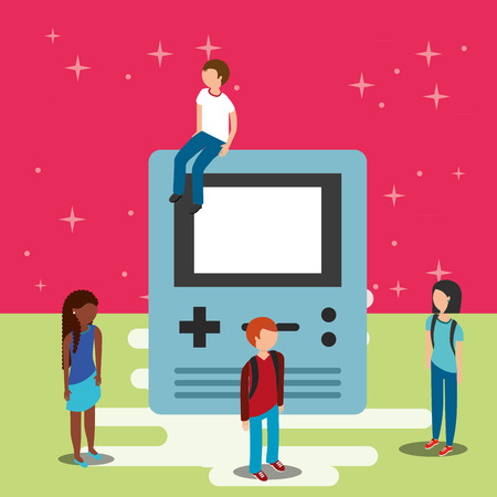 gamers and big console video game vector illustration Illustration