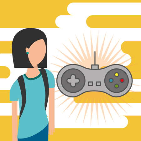 gamer young girl and gamepad device vector illustration