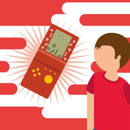 Junger Kerl und tragbare Konsole Spielkonsole Vektor-Illustration Standard-Bild - 99730495