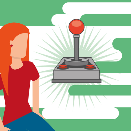 gamer young girl and video game joystick vector illustration