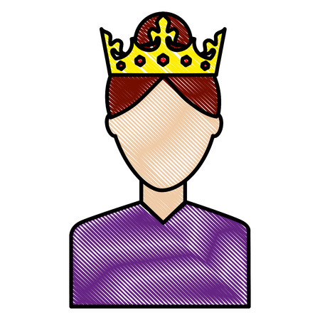 woman character portrait with crown vector illustration drawing Vettoriali