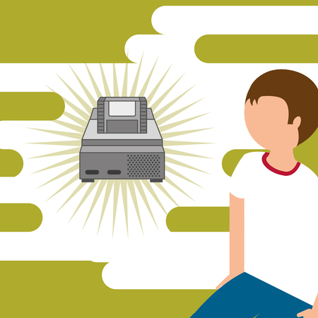 young guy and console video game cassette classic vector illustration