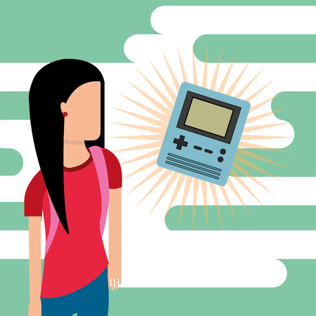 gamer young girl and classic retro console portable video game vector illustration