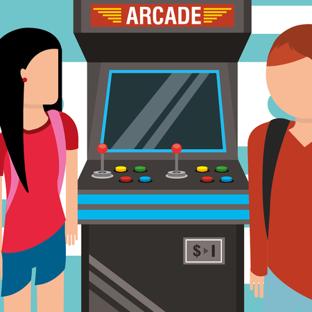 young people with video game arcade machine vector illustration