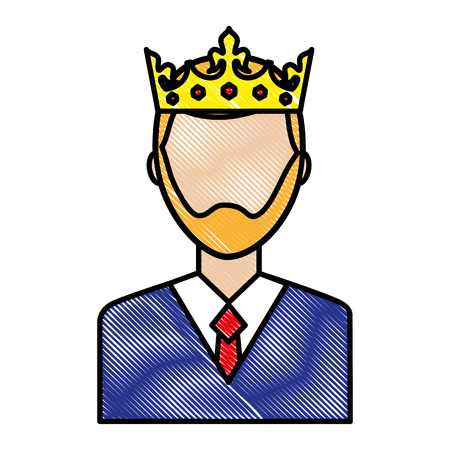 portrait man charatcer wearing crown vector illustration drawing Stock Illustratie