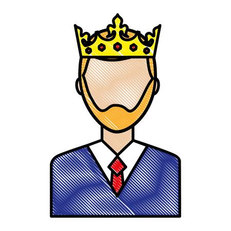 Retrato hombre carácter vistiendo corona ilustración vectorial dibujo Foto de archivo - 99730571