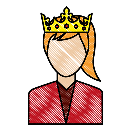 woman character portrait with crown vector illustration drawing Ilustrace